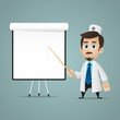 Doctor points on flipchart
