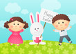 Easter rabbit with two kids