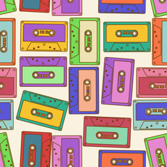 Seamless pattern of retro audio cassettes
