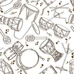 Seamless pattern of drum set