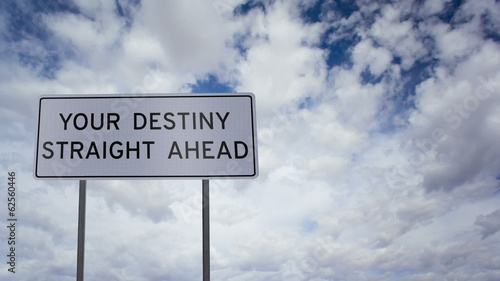 Sign Destiny Ahead Clouds Timelapse