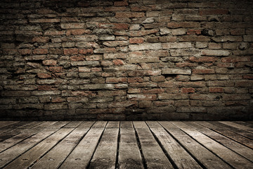 Wooden ground with grunge wall