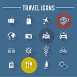 Modern travel flat icons collection with shadow, vector