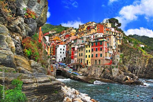 Poster colors of Italy - Riomaggiore, pictorial fishing village,Liguria