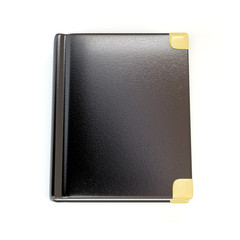 Black notebook isolated on white background