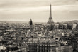 Leinwanddruck Bild - View of Paris and of the Eiffel Tower from Above