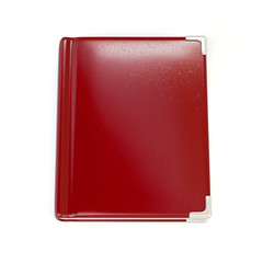 Red leather book cover. Notebook on the white background