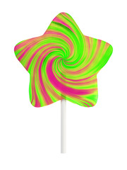 Star-shape lollipop isolated on white background