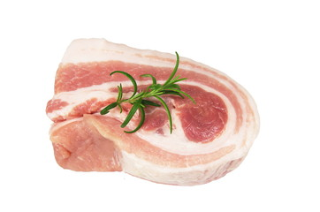 raw bacon with rosemary