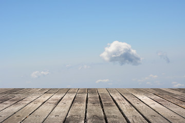 Wooden ground with sky