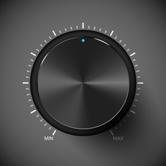 Black volume control button. Metall texture.