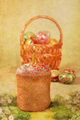 Easter cake and Easter eggs in a basket, postcard