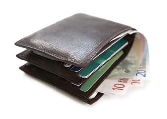 portefeuille et argent billets