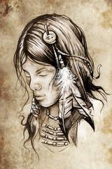 American indian woman, Tattoo sketch, handmade design over vinta