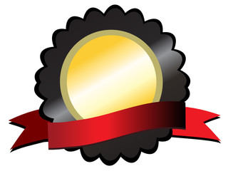 Gold medallion on black,red ribbon below