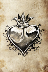 Heart, Tattoo sketch, handmade design over vintage paper