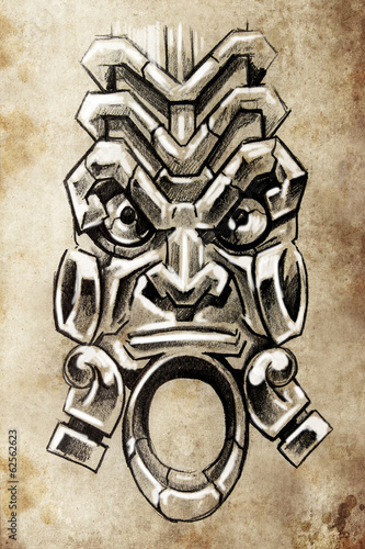 Totem, Tattoo sketch, handmade design over vintage paper