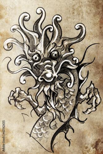 Poster Japanische Drachen Tattoo Skizze, handgefertigte Design...