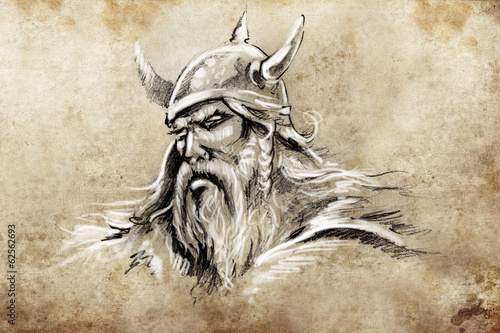 Viking, Tattoo sketch, handmade design over vintage paper