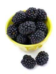 blackberries in a green bowl