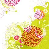 Fresh floral background with green and pink elements