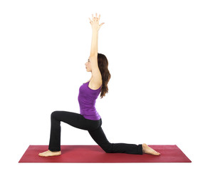 Woman doing a High Lunge Variation in Yoga