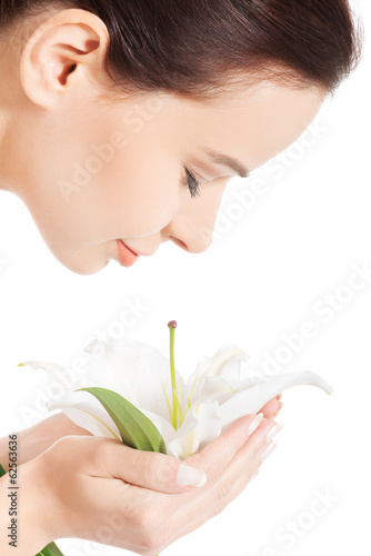 Beautiful woman with lily flower.