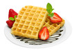 belgium waffles with strawberries and mint