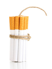 Cigarettes tied with rope and wick isolateed on white