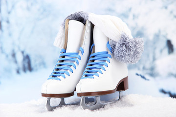 Figure skates and hat on winter background