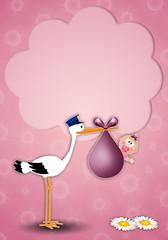 a stork delivering baby girl postcard