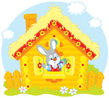 Easter Bunny in his small log hut