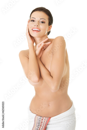 Happy nude woman with perfect body
