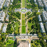The Champ de Mars. View from the Eiffel Tower, Paris