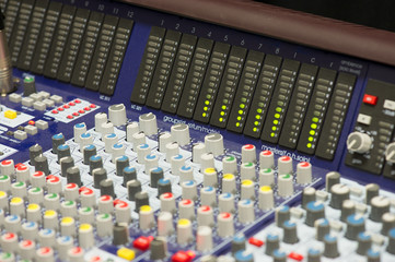Mixing console with levels