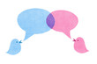 Birds with Blue and Pink Speech Bubbles
