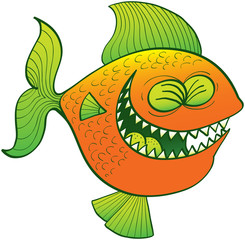 Cool fish laughing enthusiastically