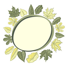 Round frame with leaves