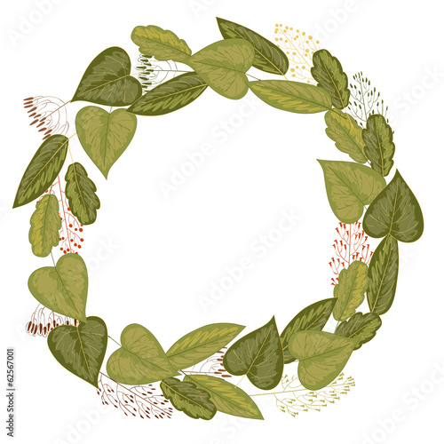 Wreath of leaves and grasses