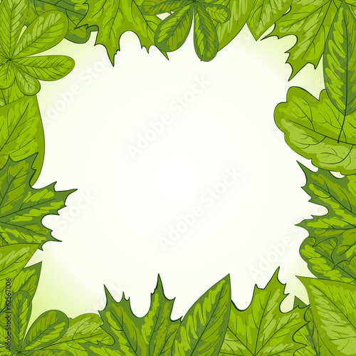 Summer frame with leaves