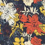 Seamless colored pattern, spring flowers
