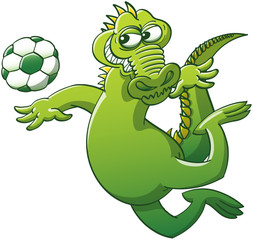 Brave alligator jumping and heading a soccer ball