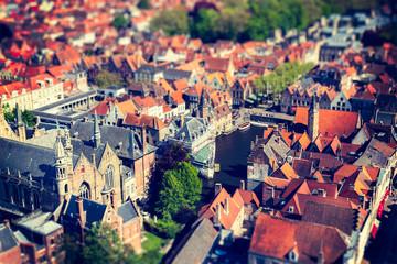 Aerial view of Bruges (Brugge), Belgium.