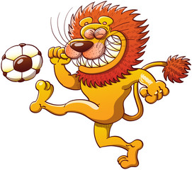 Brave lion kicking violently a soccer ball