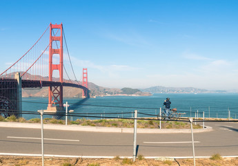 Golden Gate in San Francisco - Bicycle path and unidentified Bik