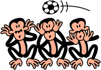 Three Wise Soccer Monkeys Celebrating Socccer