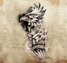 Gargoyle and totem, Tattoo art, hadmade sketch over vintage pape