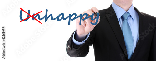 Man turning word unhappy into happy