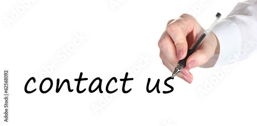 Contact us hand writing with pen on transparent board