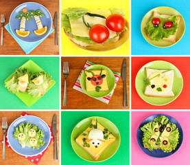 Collage of fun food for kids